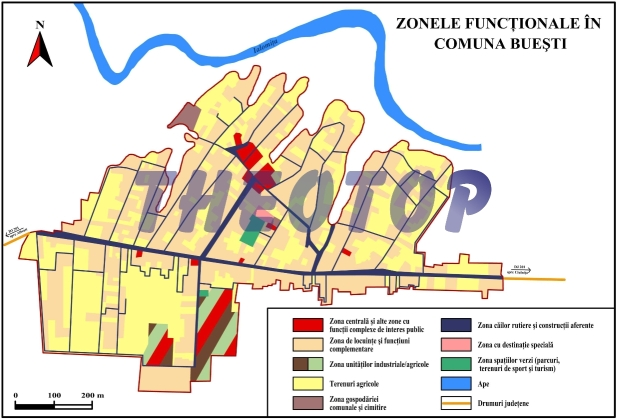 Harta zonelor funcționale: Comuna Buești