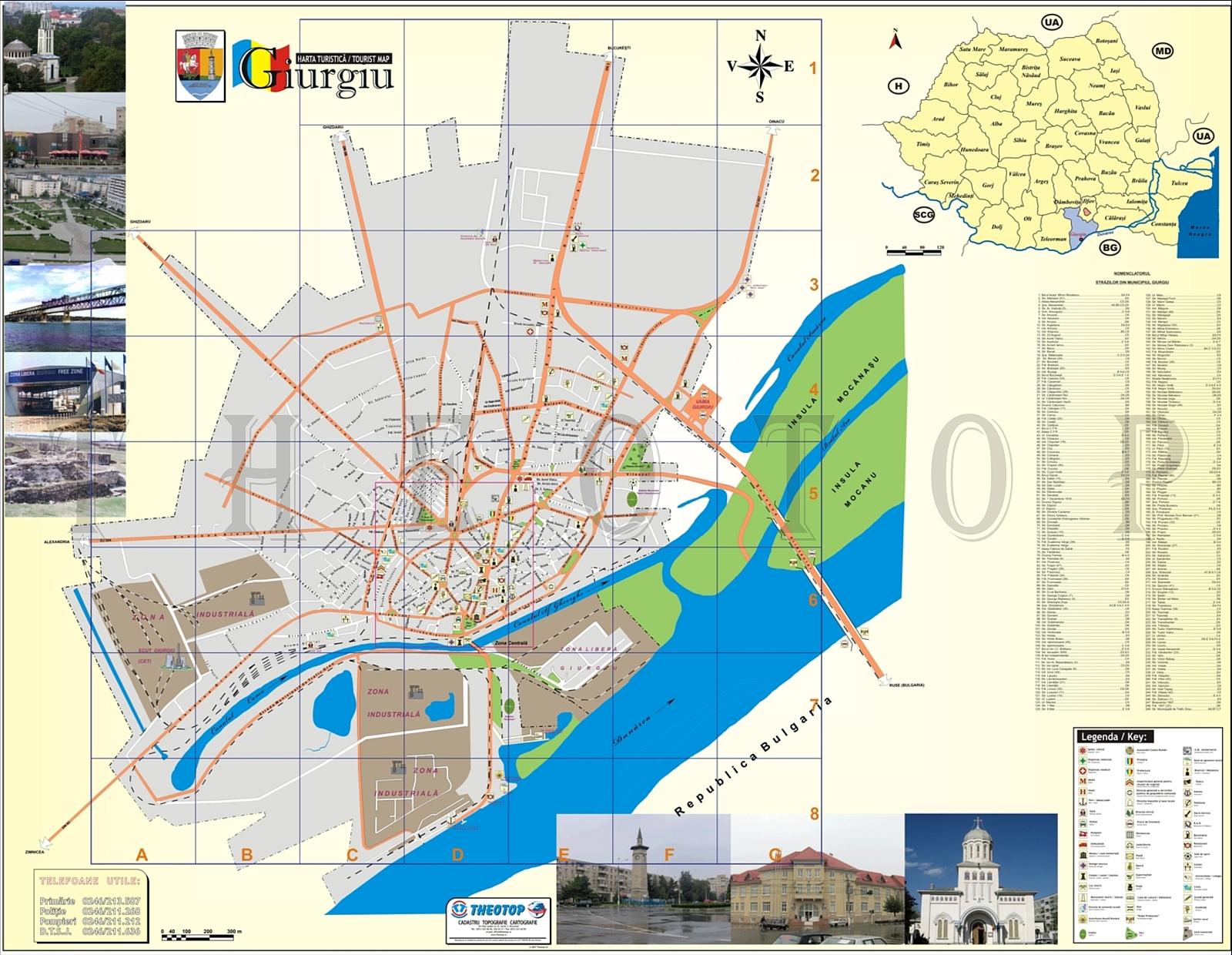 Harta turistică: Municiupiul Giurgiu