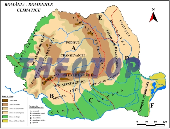 Hartă climatică: a României
